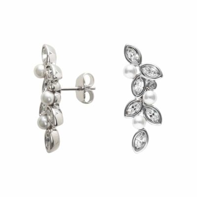 PRIME OF LOVE Clous d'oreille, New, rhodié, blanc, couleur cristal